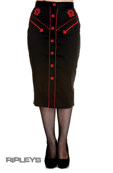 HELL BUNNY 50s Rockabilly Pencil Skirt WESTERN Black/Red All Sizes